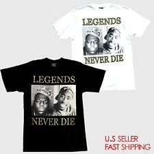TUPAC BIGGIE LEGEND NEVER DIE T-shirt NOTORIOUS B.I.G 2PAC Tee Adult Black WHITE