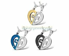 """""""LOVE YOU REALLY"""" Matching Heart Pendant Stainless Steel Chain Necklace"""