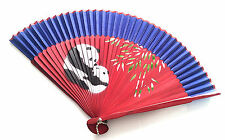 Hand Spray Painted Bamboo and Silky Handfan with Panda Design