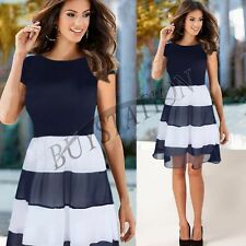 Women Stripes Summer Chiffon Dress Cocktail Party Skater Casual Pleated Dresses