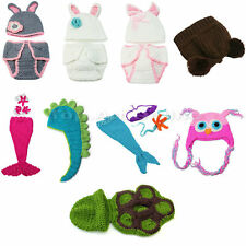 Lot Newborn Boy Girl Baby Crochet Knit Costume Photography Photo Prop Hat Outfit