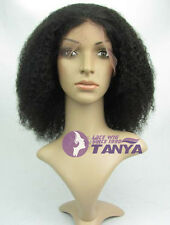 "10""-14"" Afro Curl Wig _100% Indian Remy Human Hair Full Lace / Front Lace Wigs"
