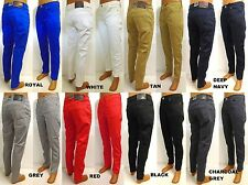 Men's ROYAL BLUE skinny twill pants blue grey white black red navy style 8183