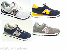 NEW BALANCE ML 574 SCARPE UOMO LEATHER SUEDE / NYLON GREY BLU GIALLO/GREY BIANCO