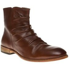 New Mens SOLE Brown Creasy Leather Boots Modern Classics Zip