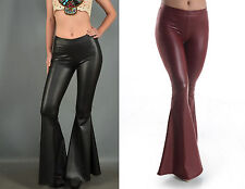 Eliza Bella for Basil & Lola Black or Wine Leatherette Bell Bottom Pants SML