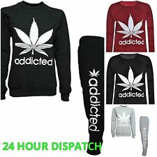 Womens ladies ADDICTED FULL TRACKSUIT joggers sweatshirt hoodie size 8-14 lot of