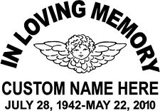 "In Memory Of Decal, Child with Wings ""In Loving Memory"", add custom Name & Dates"