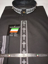 Mens Embroidered Cross Nehru Collarless Banded Dress Shirt Black/White DS2005C