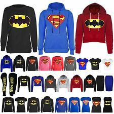 Pour femme cap manches longues Superman Batman T SHIRT Sweat Hoodies Tops
