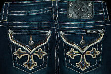 "$118 MISS ME ""LEATHER RAINBOW SEQUINS CROSS"" DARK DENIM BOOT CUT"