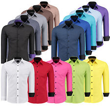 Mens Long Sleeve Casual Shirt Dress Formal Button Business Wedding Slim Fit NEW