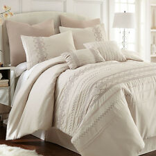 BEAUTIFUL 8PC ELEGANT IVORY EMBROIDERED PLEATED COMFORTER SET Queen King