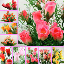 21 Mini Silk Rose Buds bushes artificial flower bouquet posy decoration SAMPLES