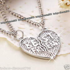 BEST FRIEND Pendent Necklace Silver Love Heart Gift For Her Mum Daughter Sister