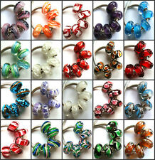 50pcs Wholesale Lampwork Murano Glass Beads Fit European Charm Bracelet NO.14