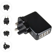 4 Port USB Travel Charger Mains Wall AC Multi Adapter Pack With AU EU US UK Plug