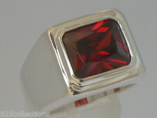 11x9 mm 925 Sterling Silver January Red Garnet Solitaire Men Ring Size 7-14