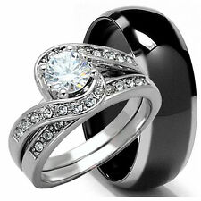 His Hers 3 pieces Mens & Womens .925 STERLING SILVER & TITANIUM wedding ring set