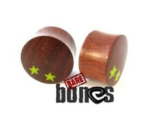 "Bare Bones Pair of Organic Blood Wood Plugs 10mm to 1 1/8"" [Select Your Size]"