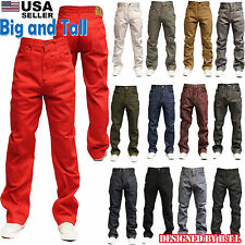 MEN BIG AND TALL RAW DENIM JEAN RELAXED FIT BLACK JEAN  PANTS BLACK KHAKI RED