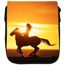 Silhouette Of Woman Riding Horse At Sunset Black Shoulder Bag