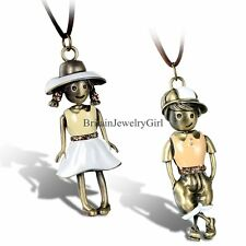 Charm Boy and Girl Doll Pendant Adjustable Brown Leather Necklace BoysGirls Gift