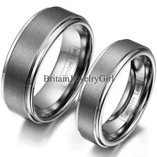 Silver Polish Finished Bevel Edge Tungsten Carbide His and Hers Wedding Ring