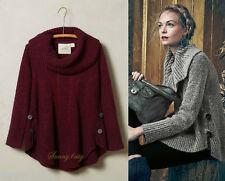 NEW Anthropologie Cabled Boucle Pullover By Angel of the North Sz XS Purple/Wine