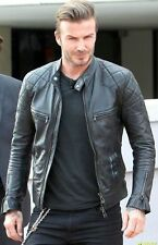 David Beckham Black Leather Biker Jacket - All sizes available