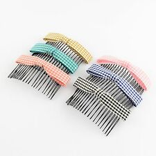 2 Pack Bow Hair Comb Slides Grips Checked Fabric Design Choose Your Colour S124