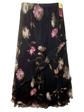 M&S New BLACK With Pink Flowers SILK Chiffon Frill Layer Maxi Skirt sz 16 & 22