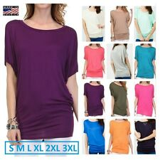 USA Women Casual Tunic Top Dolman Short Sleeve Boat Neck Solid Jersey T- Shirt
