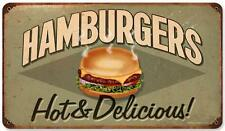 Vintage Retro Hamburgers Metal Sign Cafe Shop Diner Restaurant Wall Decor RPC