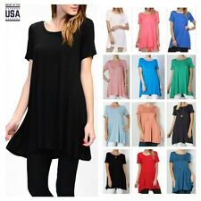 USA Women Casual Long  A Line Tunic Solid Top Scoop Neck Short Sleeve Dress S~L