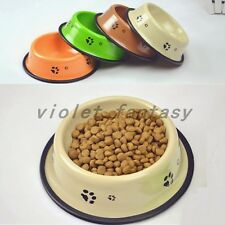 Steel Skid Dog Puppy Small Pet Cat Food Water Bowl Food Water Dish Feeder Bowl