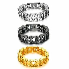 Fashion Wide Heavy Motor Biker Chain Mens Stainless Steel  Bangle Bracelet