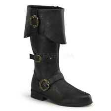 CARRIBEAN-299 MEN'S Distressed Black Carribean Pirate Captain Costume Knee Boots