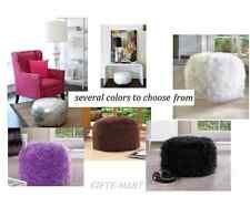 fuzzy furry footstool floor pillow cushion seat fabric bean bag ottoman POUF