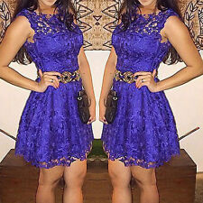 Retro Women Purple Lace Summer Cocktail Evening Party Short Mini Dress Size6-14