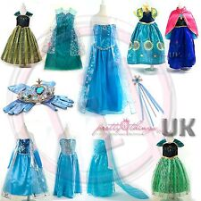 UK Girls Frozen Fever Queen Elsa Anna Princess Cosplay Costume Party Fancy Dress