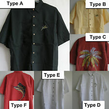 New Aloha Hawaiian resort Shirts Flower Embroidered Button front short sleeve
