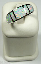 White Fire Opal Inlay Solid 925 Sterling Silver Men's, Woman's Band Ring 9 or 10