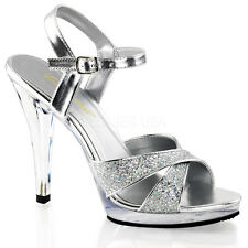 "PLEASER Sexy Criss Cross Ankle Strap 4 1/2"" Heels Silver Prom Shoes FLA419G/S/C"