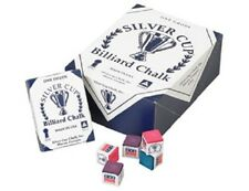 Silver Cup Pool Cue Tip Billiards Chalk Box of 12 Available in Various Colors