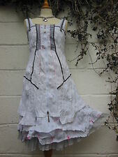 "QUIRKY CRINKLED LAYERED DRESS CORSET TIES WHITE 36"" - 42"" BUST BNWT LAGENLOOK"