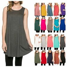 USA Women Casual Sleeveless Long Tunic Solid Top Scoop Neck T-Shirt Dress S~ XL