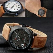Men Male Outdoor Sports Watch Military Waterproof Quartz With Leather Strap Sale