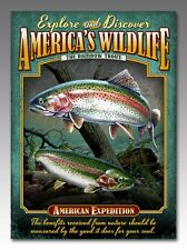 "16"" Tin Cabin Signs, The Rainbow Trout, The Largemouth Bass,  metal"