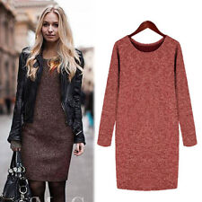 Plus Size Lady Women Long Sleeve Knitted Jumper Long Sweater Tops Pullover Dress
